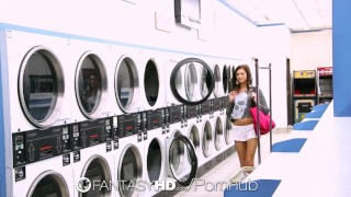 FantasyHD - Presley Dawson gets fucked on spin cycle at the laundromat