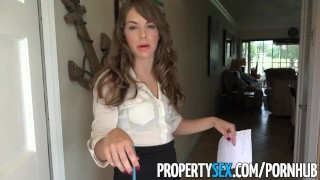 PropertySex - Insanely hot realtor flirts with client and fucks on camera Pussy prone