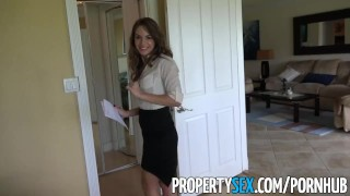 PropertySex - Insanely hot realtor flirts with client and fucks on camera