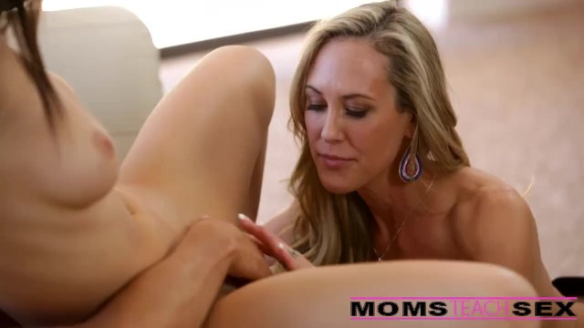 Milf teaches son - Surprise threesome with his step mom and girlfriend