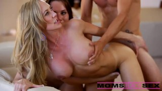 Surprise threesome with his step mom and girlfriend Shaved big