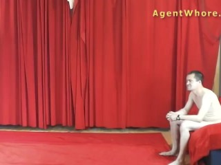 Picture of Redhead agent whore does sexy dance for a beginner guy