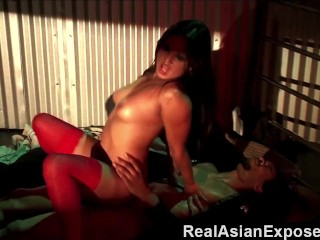 RealAsianExposed – Slutty Asian Stuffing a Huge Cock In Her Pussy