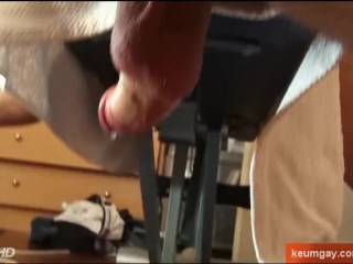 Trainer lets me to wank his hige cock...