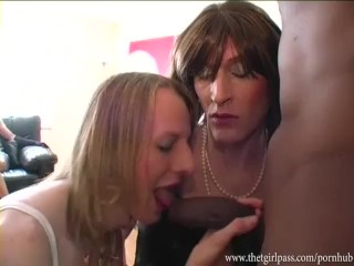Cock hungry crossdresser sluts take turns sucking big black spunking cock