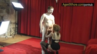 Reversed casting slovak guy gets blowjob from redhead MILF