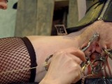 slave slut loves gettign whipped with chains before eating pusy