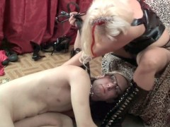 Guy gets whipped by his mistress while licking her pussy