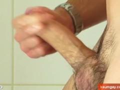Ben, is wanking his huge cock in a shower !