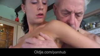 Young brunette licks grandpa all over and fucks him porno