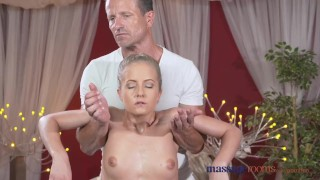 Massage Rooms Sexy toned blonde has her tiny shaved hole filled with cock Artistic lovers