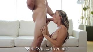 PureMature - Hot blonde Pristine Edge fingers her tight pussy