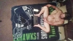 Seahawk fan masturbating on my bed with ceiling cam.
