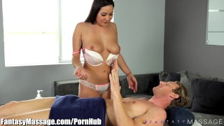 FantasyMassage Curvy Sister Makes Step-Brother Hard Cum cock