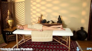 Blown crazy masseur by bitch trickyspa gets tits cock