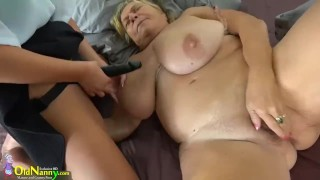 girl with strapon fucks fat old granny