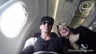 Screen Capture of Video Titled: SinsLife - Crazy Couple Public Sex Blow Job on an Airplane!