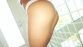 Dildo rides james sexy a rahyndee brunette toy solo