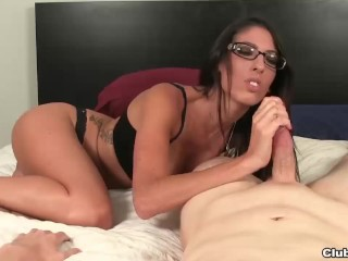 Hot brunette lady handjob