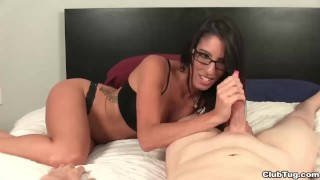 Brunette hot lady handjob view tits