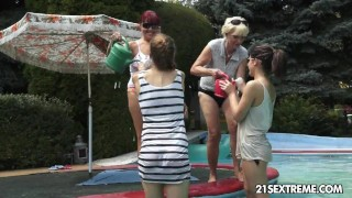 Mind-blowing old-young foursome lesbian galore
