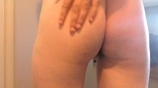 Naughty young milf touching hairy pink pussy