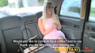 Preview 2 of FakeTaxi Helpful cab driver gives sexy blonde a creampie on backseat