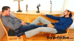 Brad & Derrick Collins bare foot and sheer sock worship