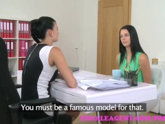 FemaleAgent Busty agent seduces shy beauty in steamy lesbian casting