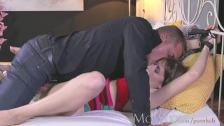 MOM Brunette housewife is tied to the bed before having hardcore orgasm