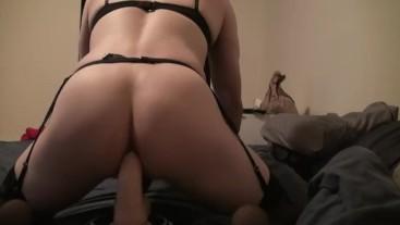 SISSY SLUT fucks BIG dildo and strokes cock