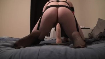 Sexy CD Vanessa Riding dildo and squirts cum