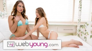 Screen Capture of Video Titled: WebYoung Sara Luvv eats Fresh, Wet Teen Pussy