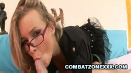 Colette - Four Eyed Babe Riding On Hard Cock