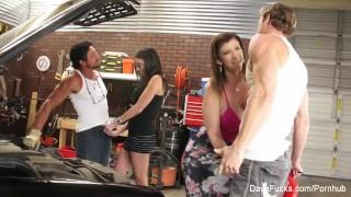 Busty hotties Dava and Sara fuck the mechanics