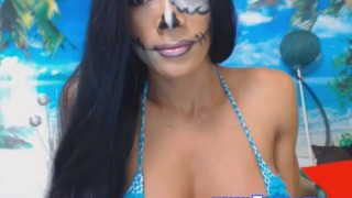 Her shemale cam show on pretty tits transgender face
