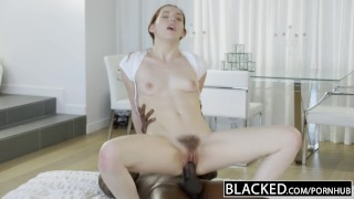 BLACKED Nerdy Ember Stone Takes Her First Black Cock