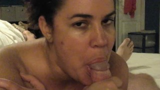 Mommy with cowgirl twirl sucking cock