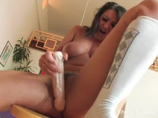 Charley Chase's sexy solo session on a bar stool