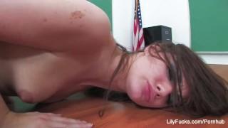 Naughty schoolgirl Lily Carter fucks in detention