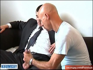 Cock sucker of a straight guy in suite trouser.