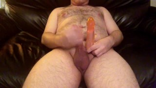 Jerking off then using bigger Dildo on oiled Bubble Butt