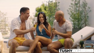 TUSHY Bad GF Megan Rain Double Penetration Pov on