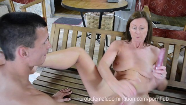 Lara Latex makes slave to fuck with toy 17