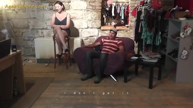 Busty MILF agent whore seduces a shy beginner guy 20