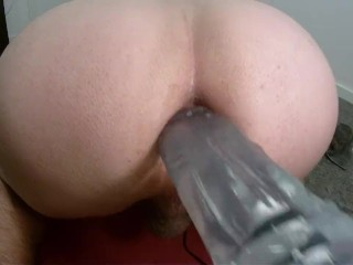 Tuning my sex machine with a huge size dildo.