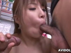Asian slut gets fucked in a hot train threesome