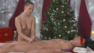 Rooms gift honry teen with her santa filled massage pussy has meaty big cock blonde