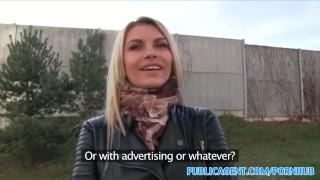 PublicAgent Tall blonde fucks for money Creampie point
