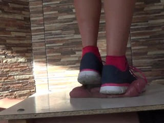 Compilation cock and balls under sneakers on cockbox